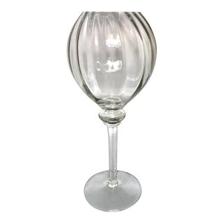 "Mid-Century Handblown Crystal Optic Swirl 15"" Stemmed Compote For Sale"