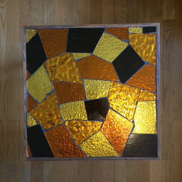 Glass Pair of Mosaic Glass Top Side Tables by Jon Matin For Sale - Image 7 of 10