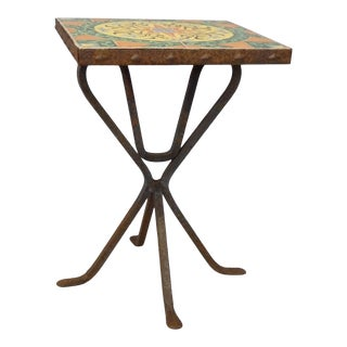 Wrought Iron Base Catalina Tile-Top Occasional Table For Sale