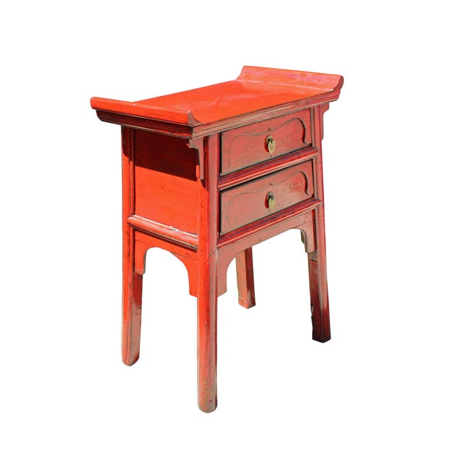 2010s Chinese Distressed Red Point Edge Narrow Slim Foyer Side Table For Sale - Image 5 of 7