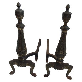 Andirons With Hammered Surface - A Pair For Sale