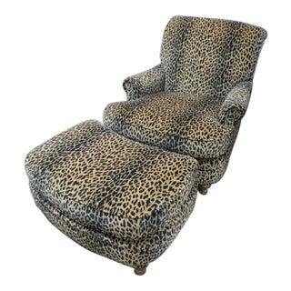 Velvet Leopard Print Chair & Ottoman - A Pair