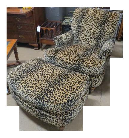 Merveilleux Velvet Leopard Print Chair U0026 Ottoman   A Pair