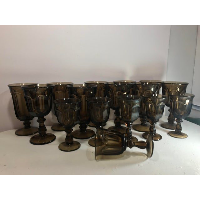 1970s Old Williamsburg Nut Brown Glass Goblet Drinkware Set of 16 For Sale - Image 4 of 5