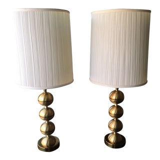 George Kovacs Style Brass Stacked Ball Table Lamp & Shade - a Pair For Sale