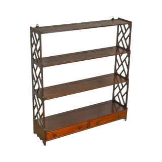 Chippendale Style 1940s Custom Mahogany Hanging What Not Shelf W/ Drawers For Sale