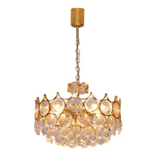 Stunning Gilded Brass and Glass Palwa Chandelier For Sale