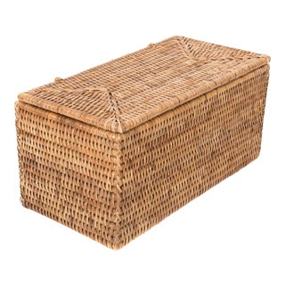 Artifacts Rattan Rectangular Double Tissue Roll Box With Lid For Sale