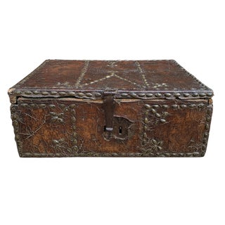 17th Century Italian Leather Trunk For Sale