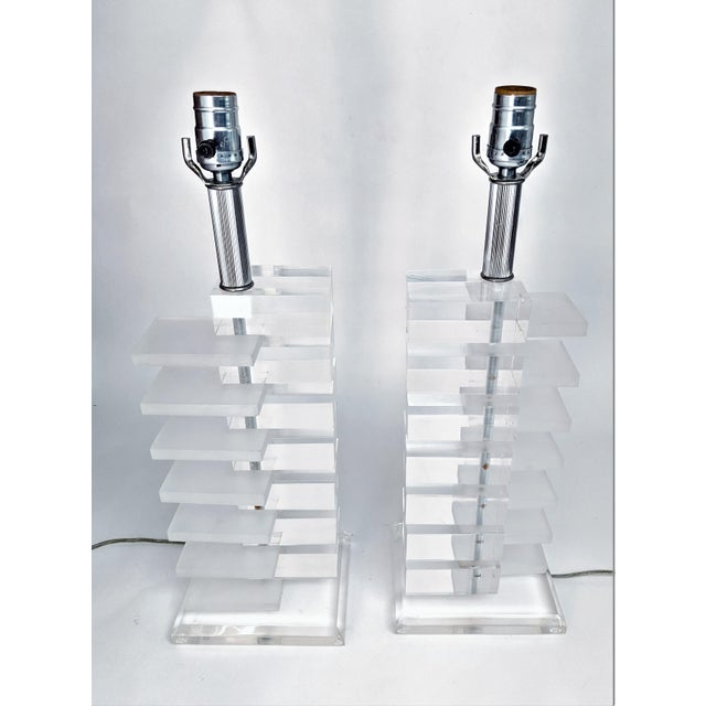 Mid-Century Modern Lucite Stacked Lamps - A Pair - Image 4 of 11