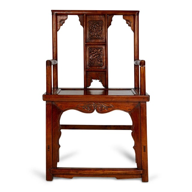 Pair of beautifully carved Chinese armchairs. These noble looking throne style chairs have been expertly crafted, central...