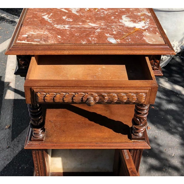 French Antique Old Paris Apartment Carved Mahogany Night Stand or End Table For Sale - Image 3 of 4