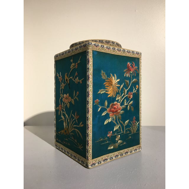 Wood Chinoiserie Silk Embroidered Tea Caddy, circa 1920's For Sale - Image 7 of 9