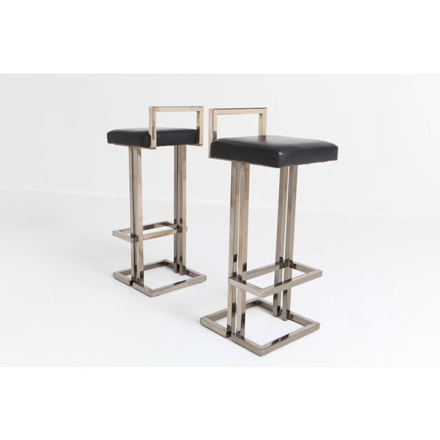 Maison Jansen Chrome and Black Leather Bar Stools For Sale - Image 6 of 9