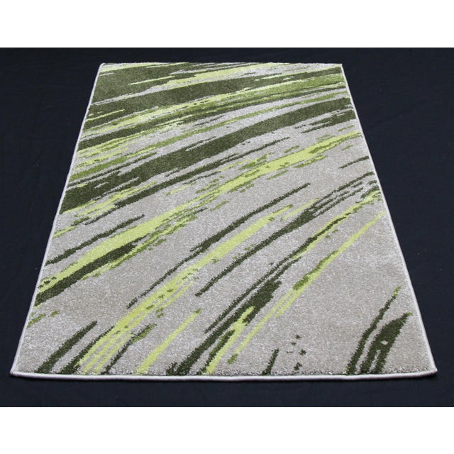"Green Abstract Striped Rug - 2'8"" X 5' - Image 3 of 3"