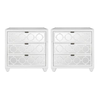 Worlds Away Ava White Lacquer & Mirror 3 Drawer Side Tables/Nightstands – A Pair