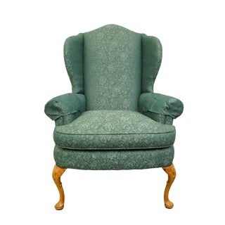 Late 20th Century Vintage Pennsylvania House Advantage Green Teal Upholstered Wingback Arm Chair For Sale