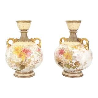 Pair of Royal Worcester Porcelain Vases For Sale