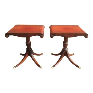 Vintage Mahogany Leather Top Side Tables -- A Pair