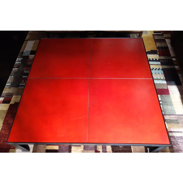 Leather & Metal Coffee Table - Image 5 of 6