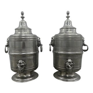 Bloomingdales Italian Pewter Samovars With Elf Heads - a Pair For Sale