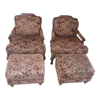 Flexsteel French Provincial Bergere Chairs & Ottomans - A Pair