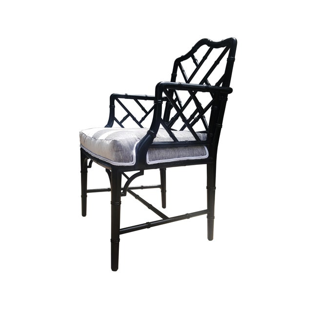 Asian Faux Bamboo Chinese Chippendale Black Lacquered Armchair For Sale - Image 3 of 6