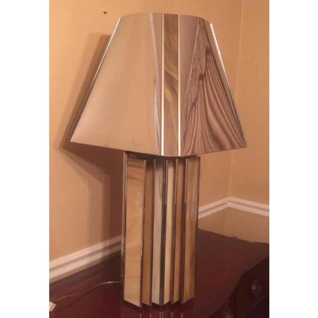 Chrome and Colored Glass Modern Table Lamp - Image 4 of 5