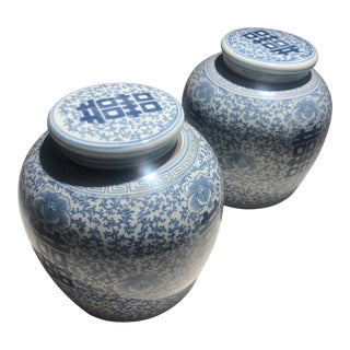 Blue & White Asian-Inspired Canton Jars- a Pair For Sale