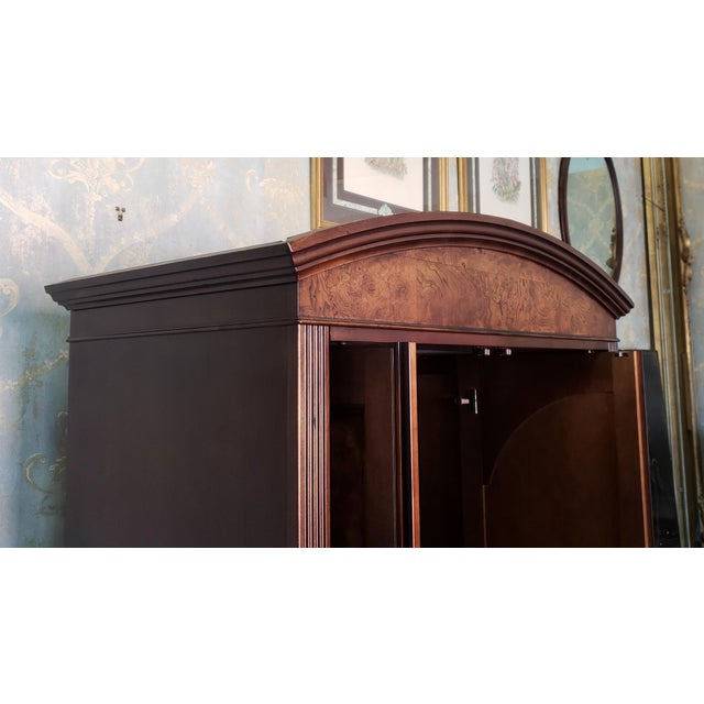 Hekman Furniture Burl Walnut Contemporary Entertainment Tv Armoire Cabinet For Sale - Image 11 of 13