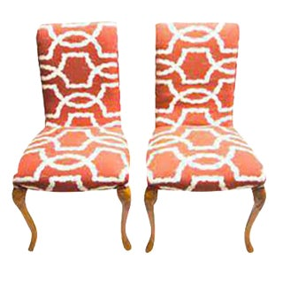 Pair of Louis XV Side Chairs in Chippendale Fabric