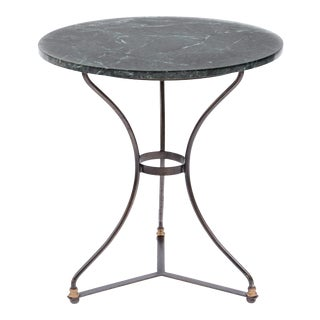 Vintage French Iron & Green Marble Bistro Table For Sale