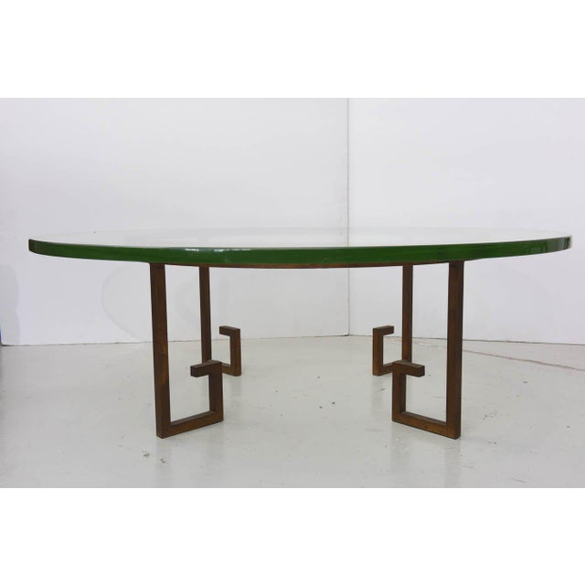 1950s French Modern Gilt Iron and Glass Low Table, Style of Jean Royère For Sale - Image 5 of 9