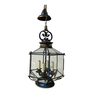 Antique French Cerulean Blue Tole and Bronze Lantern For Sale