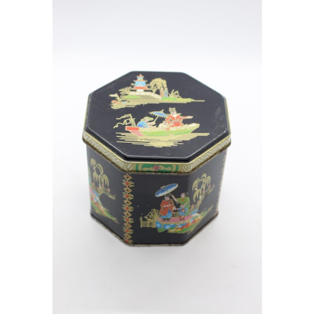 Black 1990s Tin Box Company Chinoiserie Pictorial Box For Sale - Image 8 of 8
