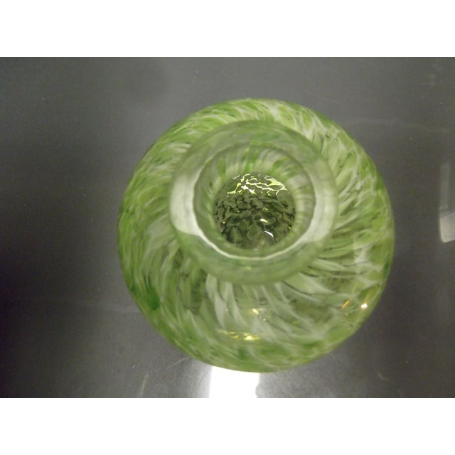 Green & White Swirl Blown Glass Vase - Image 4 of 7