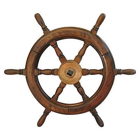 Vintage Mahogany Nautical Ship's Wheel - Image 1 of 4