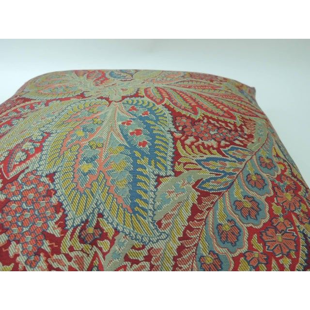 """Neoclassical Pair of Hand Printed """"Chandigarh"""" Paisley Multi-Color Decorative Pillows For Sale - Image 3 of 7"""