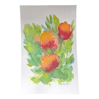 """Abstracted Floral"" Watercolor Botanical Painting For Sale"