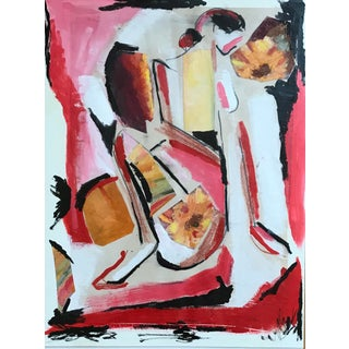 """Contemporary Abstract """"Lady in Red"""" Painting For Sale"""