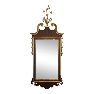 19th Century Federal Style Mahogany Parcel Gilt Wall Mirror For Sale