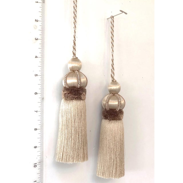 Shabby Chic Taupe Key Tassel With Cut Velvet Ruche - a Pair For Sale - Image 3 of 10