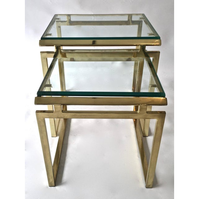 Mid-Century Brass & Glass Nesting Tables - A Pair - Image 3 of 10