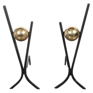 Pair of Mid-Century Modern Black Enamel and Brass Andirons by Donald Deskey