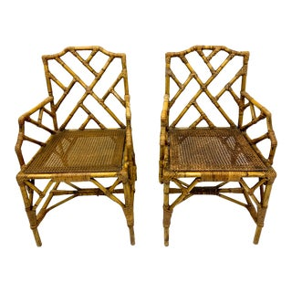 Pair of English Cane and Bamboo Chippendale Style Chairs For Sale