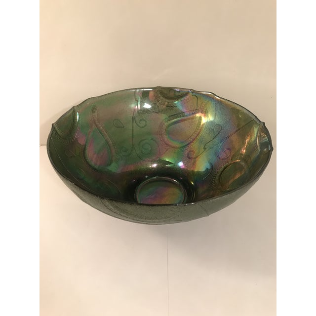 Large vintage dark green carnival glass serving bowl. Perfect for holiday entertaining. Same day shipping.