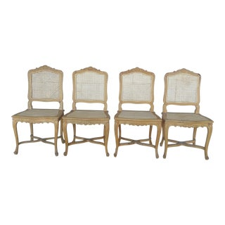 French Hand Carved Cane Chairs - Set of 4