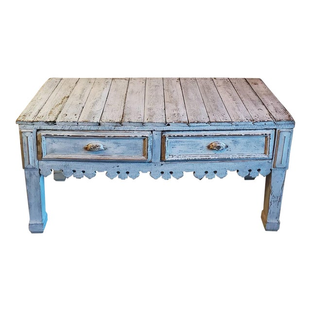 Antique Distressed Painted Plank Top Console Table For Sale
