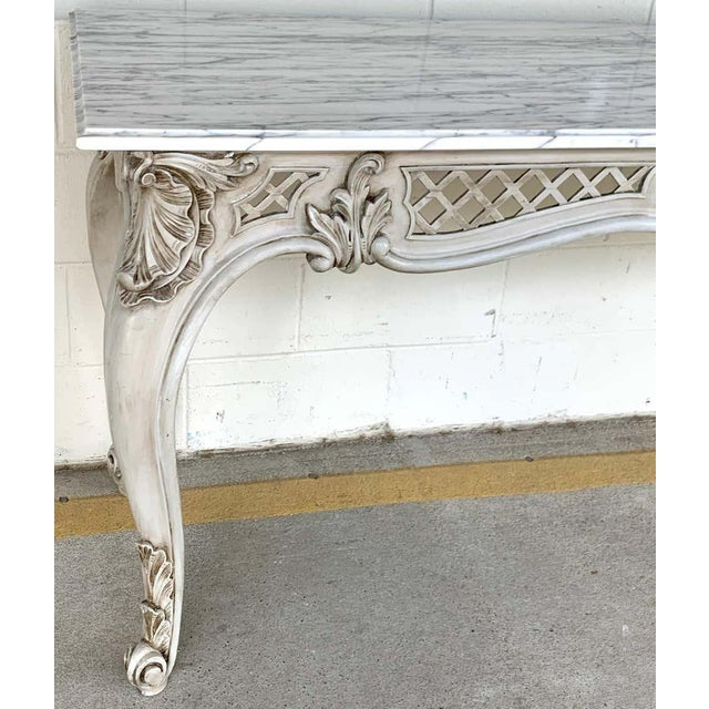 Neoclassical French Neoclassical Grey Painted Marble-Top Console Table For Sale - Image 3 of 10