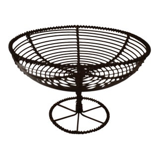 19th C. French Twisted Wire Footed Egg Pedestal Basket- Compote For Sale